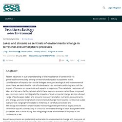 Lakes and streams as sentinels of environmental change in terrestrial and atmospheric processes - Williamson - 2008 - Frontiers in Ecology and the Environment