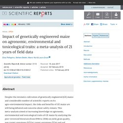 Impact of genetically engineered maize on agronomic, environmental and toxicological traits: a meta-analysis of 21 years of field data