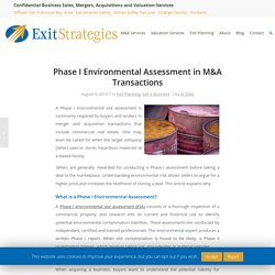 Phase I Environmental Assessment in M&A Transactions