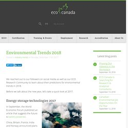 Environmental Trends for 2018 - What's coming up?