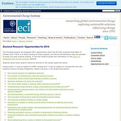 Environmental Change Institute (ECI) - Oxford University