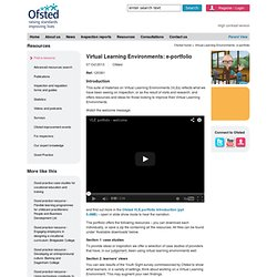 Virtual Learning Environments: e-portfolio