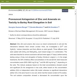 Environments 2018, 5(7), 83 Pronounced Antagonism of Zinc and Arsenate on Toxicity to Barley Root Elongation in Soil