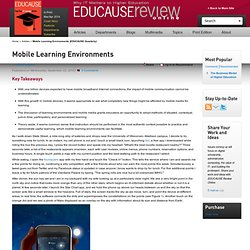 Mobile Learning Environments (EDUCAUSE Quarterly
