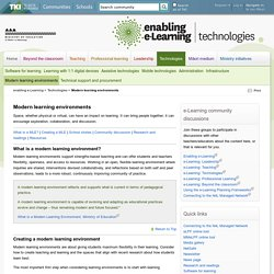 Modern learning environments / Technologies
