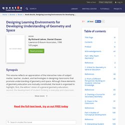 Designing Learning Environments for Developing Understanding of Geometry and Space, 1998