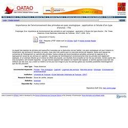ENVT - 2008 - Thèse en ligne : Importance de l'environnement des primates en parc zoologique ; application à l'étude d'un type d