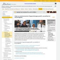 Alberta Education - Créer un environnement d'apprentissage positif, accueillant et encourageant