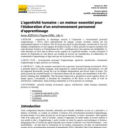 L'agentivité humaine : un moteur essentiel pour l'élaboration d'un environnement personnel d'apprentissage