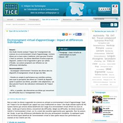 L'Agence nationale des Usages des TICE - Environnement virtuel d'apprentissage : impact et différences individuelles