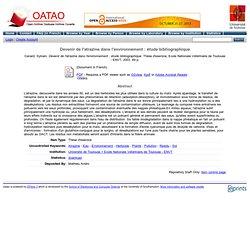 OATAO - 2003 - Thèse en ligne : Devenir de l'atrazine dans l'environnement : étude bibliographique.