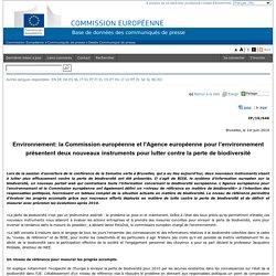 EUROPE 01/06/10 Environnement: la Commission européenne et l'Agence européenne pour l'environnement présentent deux nouveaux i