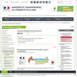 Prix entreprises et environnement 2016 : appel à candidatures - Ministère de l'Environnement, de l'Energie et de la Mer