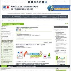 Prix Entreprises et Environnement 2013 : appel à candidatures