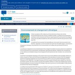 Environnement et changement climatique - EUR-Lex