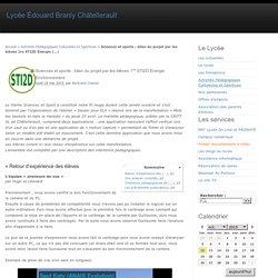 Sciences et sports : bilan du projet par les élèves 1re STI2D Énergie Environnement - Lycée Édouard Branly Châtellerault