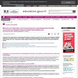Mesures sur l'éducation à l'environnement et au développement durable annoncées par Ségolène Royal et Najat Vallaud-Belkacem