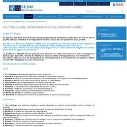 Politique qualité, environnement et développement durable