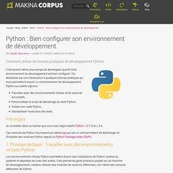 Python : Bien configurer son environnement de développement