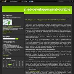 Les TIC pour une entreprise respectueuse de l'environnement - Systèmes d'information et développement durable