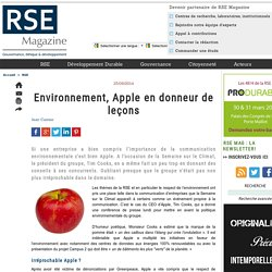 Environnement, Apple en donneur de leçons