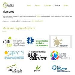 Membres - Coalition Éducation Environnement Écocitoyenneté