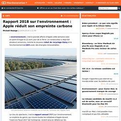 Rapport 2018 sur l'environnement : Apple réduit son empreinte carbone