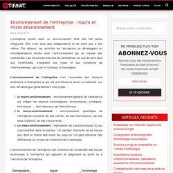 Environnement de l'entreprise : macro et micro environnement
