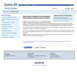 Intervention d'Urgence-Environnement - Déversement d'hydrocarbures à Potton