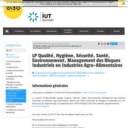 LP Qualité, Hygiène, Sécurité, Santé, Environnement, Management des Risques Industriels