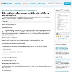 Micro & Macro Environnement Du Marché De La déco Intérieur - Mémoires Gratuits - zoo1234