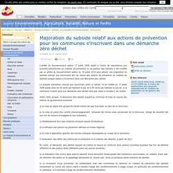 Documents en matière d'environnement : Majoration du subside relatif aux actions de prévention pour les communes s'inscrivant dans une démarche zéro déchet (01-2020)
