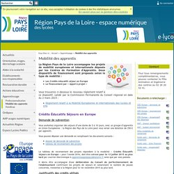 Portail Régional - Environnement numérique de travail - Mobilité des apprentis