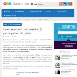 Environnement : information et participation du public