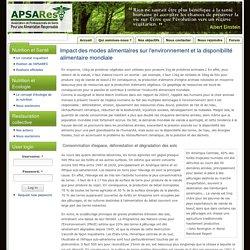 Impact des modes alimentaires sur l'environnement et la disponibilité alimentaire mondiale
