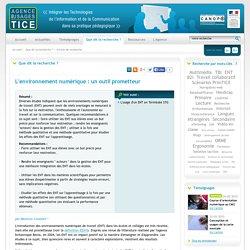 L'Agence nationale des Usages des TICE - L'environnement numérique : un outil prometteur