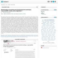Lambrecht Maxime, Droit d'auteur et ouverture de l'environnement numérique : responsabilité sociale contre législation ?