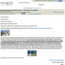 Environnement et ressources rares : l'eau douce en argentine - Marie-Carmen Iriarte-Maza