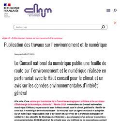Publication des travaux sur l'environnement et le numérique