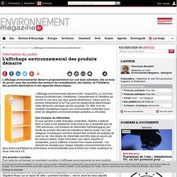 L'affichage environnemental des produits démarre – 12/01/17