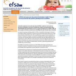 EFSA 15/11/10 L'EFSA met à jour son document d'orientation relatif à l'impact environnemental des plantes génétiquement modifiée