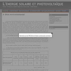 II- Bilan environnemental - L'énergie solaire et photovoltaïque