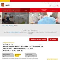 Maîtrise en administration des affaires - responsabilité sociale et environnementale des organisations (M.B.A.)