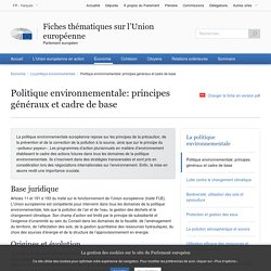 Politique environnementale: principes généraux et cadre de base