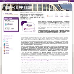 Les démarches environnementales augmentent de 16% la productivité des salariés : étude auprès de 4 929 salariés français / Les communiqués de presse / Espace presse / Groupe