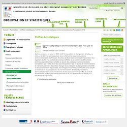 MEDDE - AVRIL 2013 - Opinions et pratiques environnementales des Français en 2012