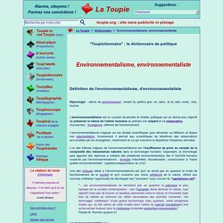 Environnementalisme, environnementaliste