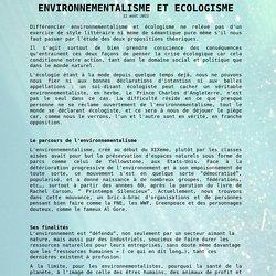 ENVIRONNEMENTALISME ET ECOLOGISME par Floréal Roméro