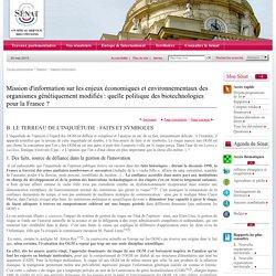 SENAT - Rapport d'information n° 301 (2002-2003) Mission d'information sur les enjeux économiques et environnementaux des organismes génétiquement modifiés : quelle politique des biotechnologies pour la France ? LE TERREAU DE L'INQUIÉTUDE : FAITS ET SYMBO