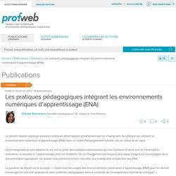 Les pratiques pédagogiques intégrant les environnements numériques d'apprentissage (ENA)
